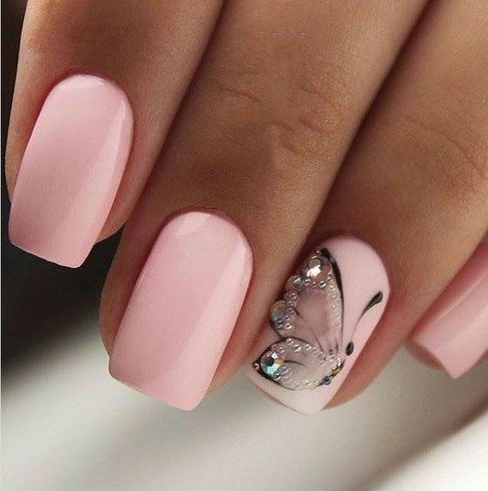 Pin On Nail Design Ideas In 2020 Butterfly Nail Designs Butterfly Nail Art Pink Nail Art