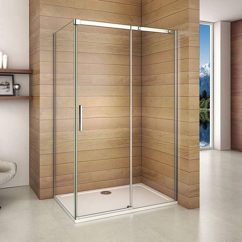 Aica Frameless Sliding Shower Enclosure Door & Tray Walk In Glass ...