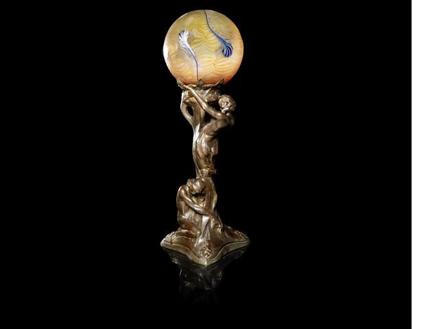 Sold Price: An Art Deco lamp with bronze female nude base