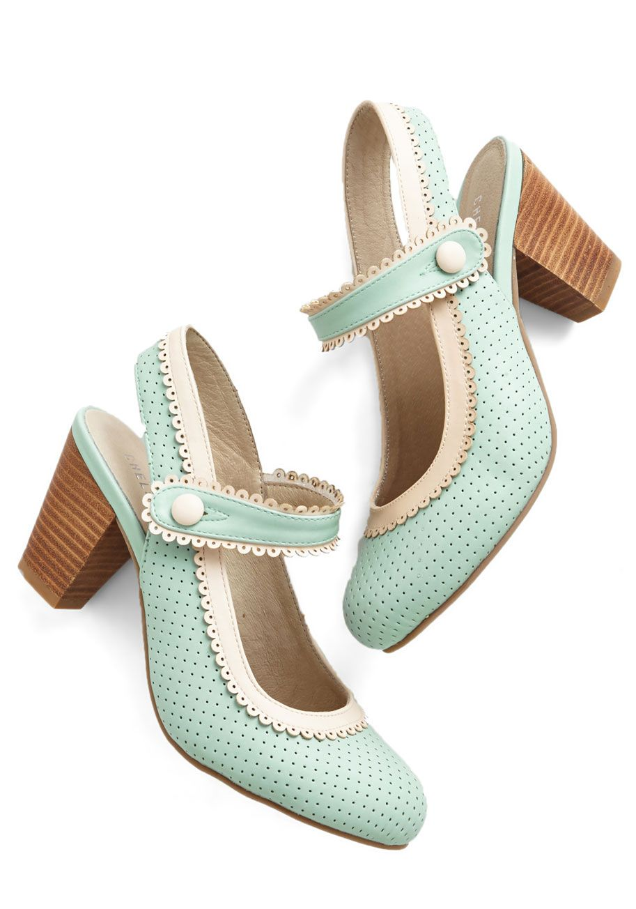 Be Bright There! Heel in Mint. Impromptu brunch plans? #blue #modcloth