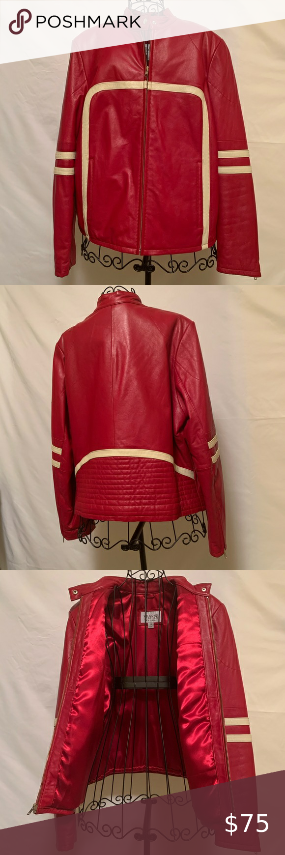 Wilson's Ladies Red/Beige Leather Jacket in 2020 Beige
