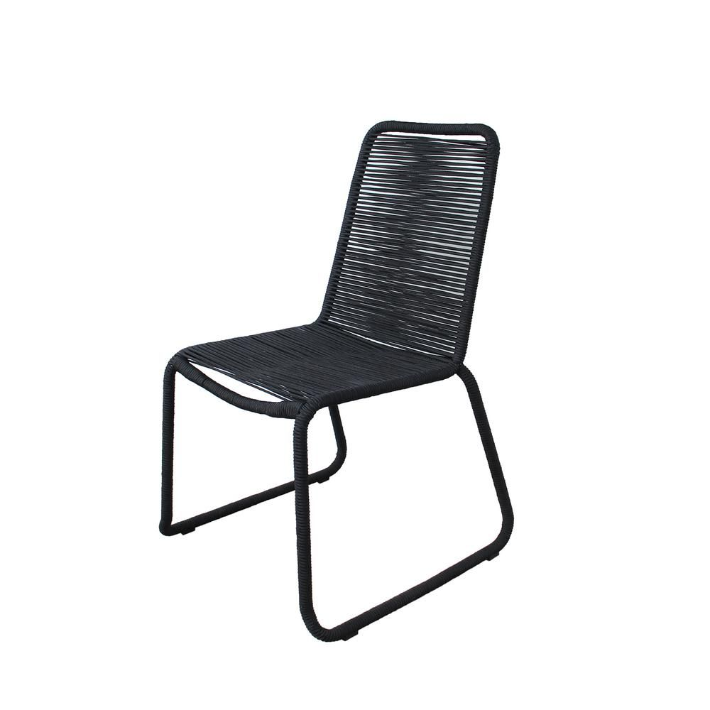 Made 4 Home Neil Steel Rope Outdoor Dining Chair In Black 2 Pack M4h Ch1665 Blk The Home Depot In 2021 Outdoor Dining Chairs Side Chairs Dining Outdoor Side Chairs