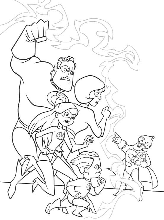 Printable Syndrome Evil Vs The Incredibles Family Coloring ...