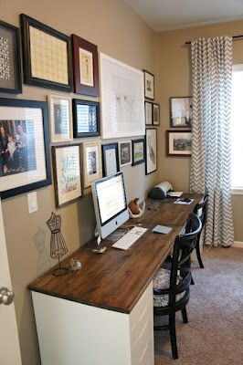 Awesome White Files And Wood Topper Pretty Dubs: Desk Idea Really Like Her Desk,  Love The Rustic Wood Look.