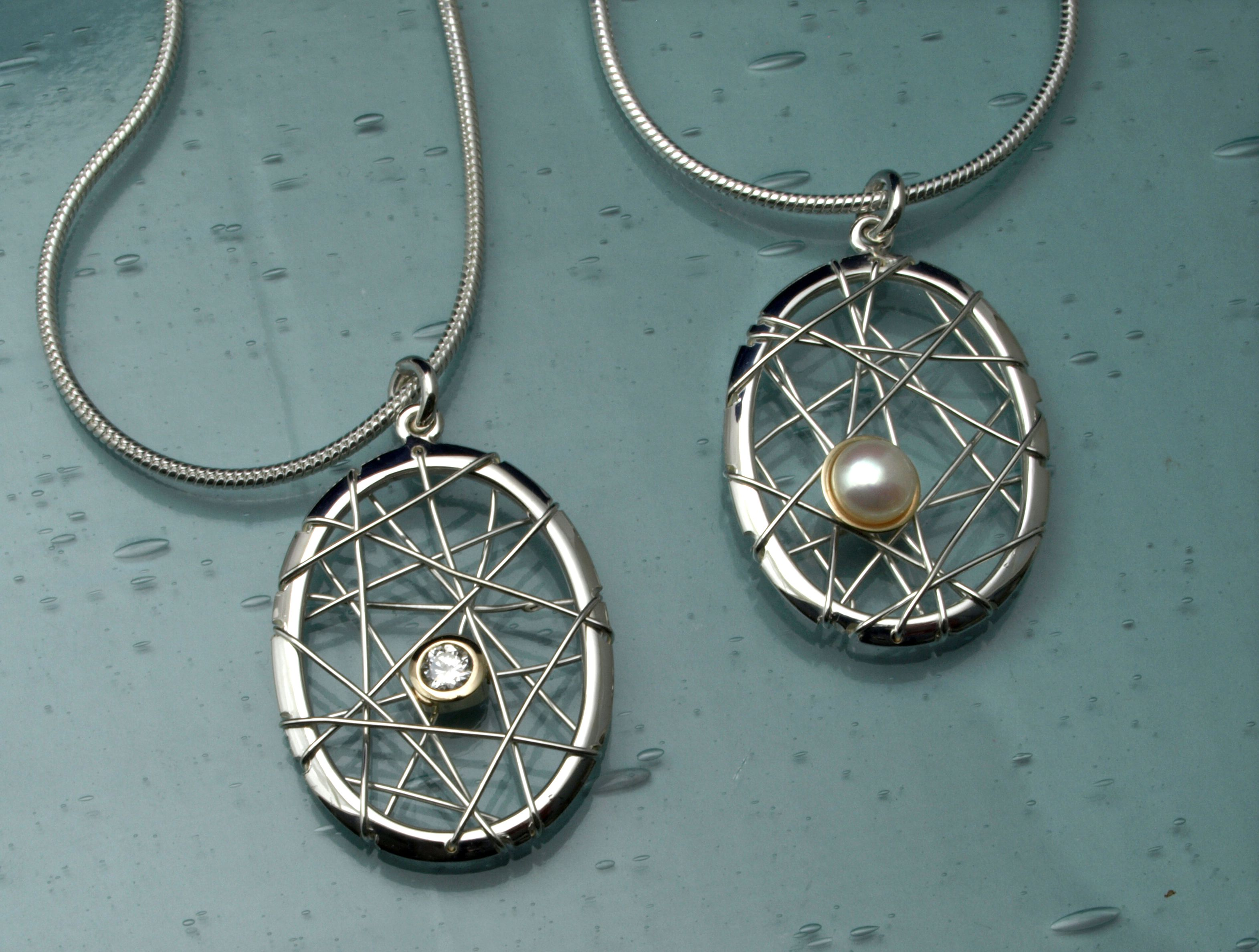 Silver and gold dream catcher pendants set with customers diamond
