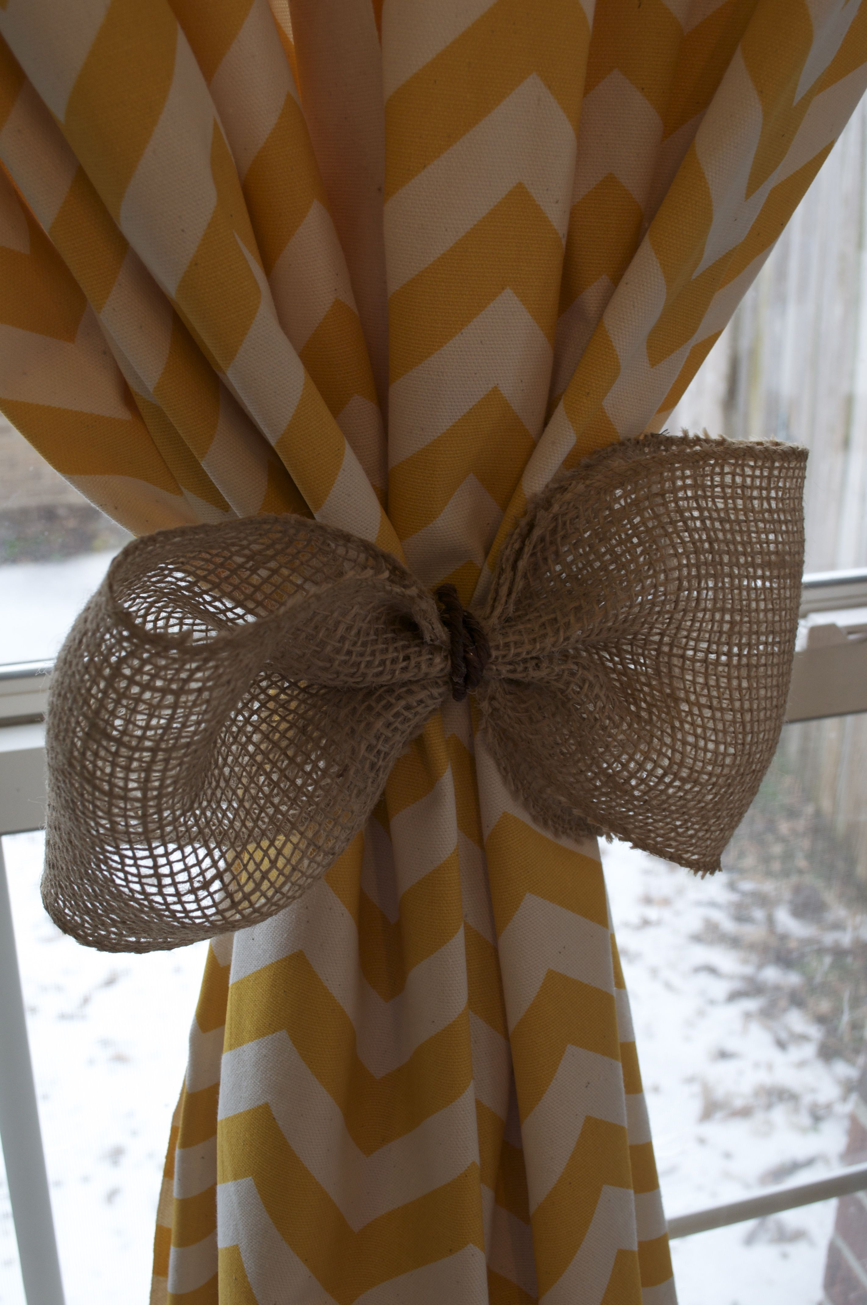 Burlap kitchen curtain ideas - Cool Yellow Chevron Curtains Patterns And Burlap Curtain Tie Backs With Clear Glass Windows White Wooden