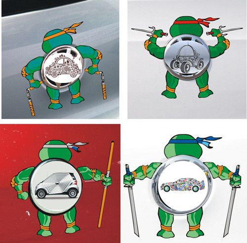 Car stickers teenage mutant ninja turtles decorative for cars logo colorful decals waterproof cartoon for vw