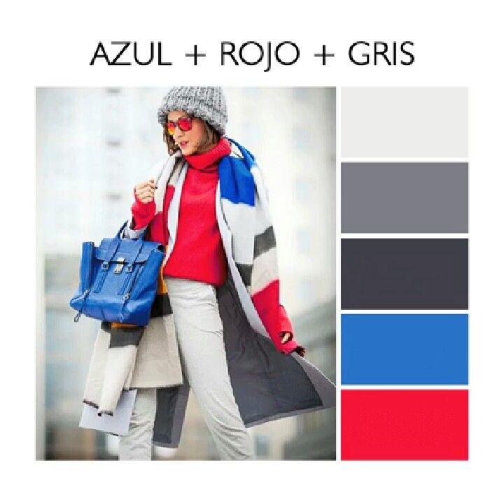 Azul Rojo Gris Ropa De Colores Combinaciones De Colores Azules Gris Y Rojo