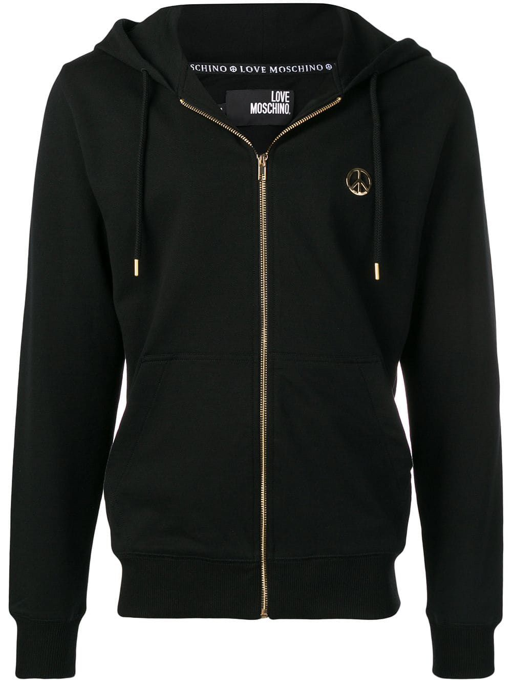 af16ca471c3f Love Moschino zip front hoodie - Black in 2019 | Products | Moschino ...