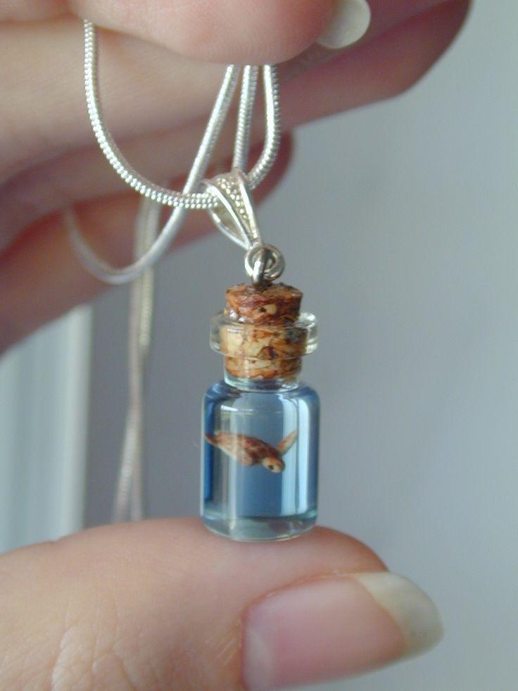 Sea Turtle In A Tiny Bottle Necklace By Jen4eternity On Etsy