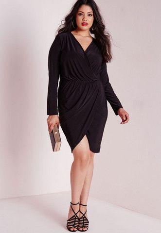 8cbcce20424 Flattering Big n Trendy Black Plus Size Slinky Wrap Dress