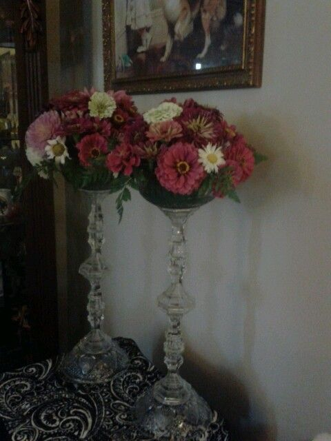 I Grew The Flowers Made The Tall Vase From Dollar Tree Candlesticks