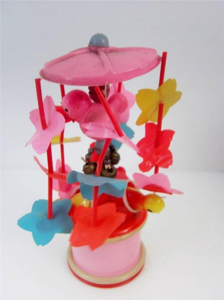 Fabulous Vintage #WindUp Toy #Celluloid with charming #ChirpingBirds. Made in Japan 1950's, spins fast, see video!