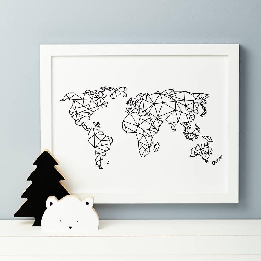 Geometric world map print geometric form nursery design and a beautiful nursery print featuring the world map in geometric formour drawing is a gumiabroncs Image collections