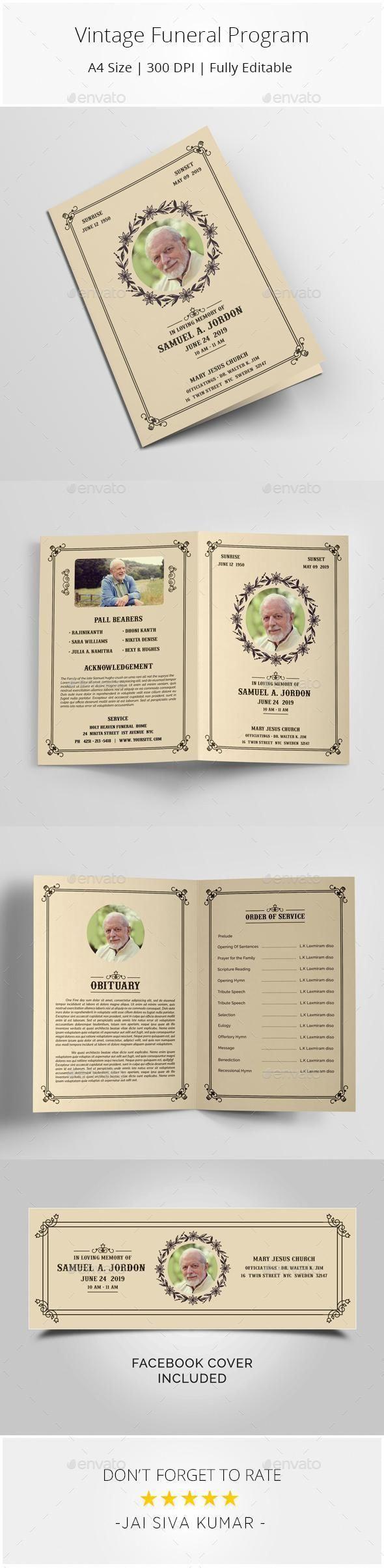 Vintage Funeral Program Template for 9 Envato brochure