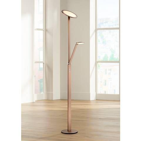 Possini Euro Magnum French Bronze Led Torchiere Floor Lamp 7h307 Lamps Plus Bronze Floor Lamp Floor Lamp Industrial Floor Lamps