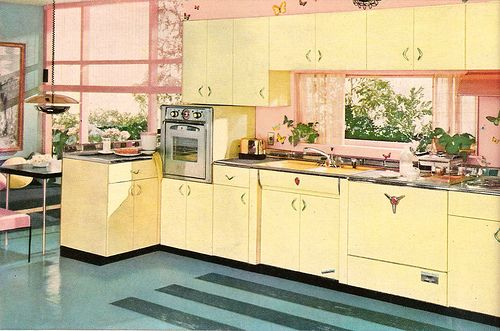 A 1956 Yellow Pink Aquamarine Youngstown Kitchen So Sweet 1950s Home Decor Metal Kitchen Cabinets Retro Renovation