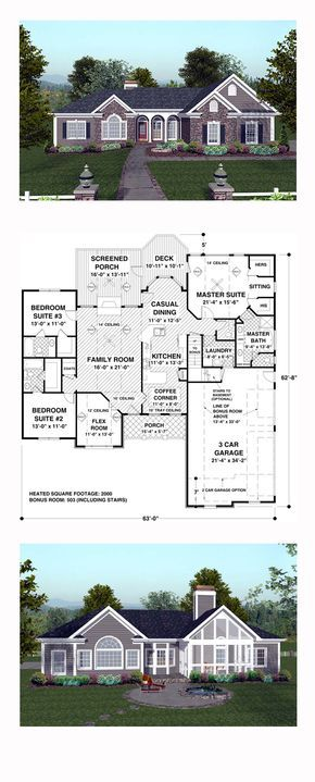 Craftsman House Plan 74811 | Total Living Area: 2000 sq. ft., 3 bedrooms and 3.5 bathrooms. #craftsmanhome