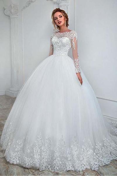 Elegantes Bateau-Ausschnitt-Ballkleid-Hochzeits-Kleid mit Spitze-Applikationen WD201