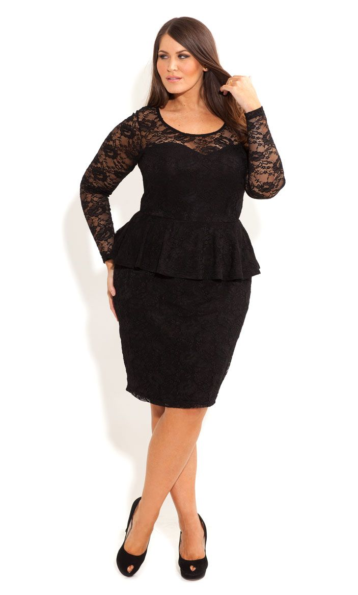 Plus-size Women's - Hi Lo Lace Peplum Dress. Diva, bring sexy to the scene in my lace peplum dress. Featuring an airy, 3/4 sleeve this sheath silhouette caps at the knee, but turns to reveal a dramatic hi-lo hem worthy of show stopping magic.