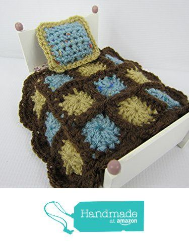Miniature doll bed blanket with pillow, Crochet granny square blanket https://www.amazon.com/dp/B01JF7ZAQM/ref=hnd_sw_r_pi_dp_m8MNxbTQ8WYVE #handmadeatamazon