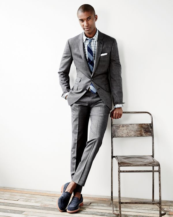 a3108bb5 J.Crew men's Ludlow suit jacket and pant in Italian tick-weave, Jaspé  cotton shirt in gingham, english linen pocket square and Kenton suede penny  loafers.
