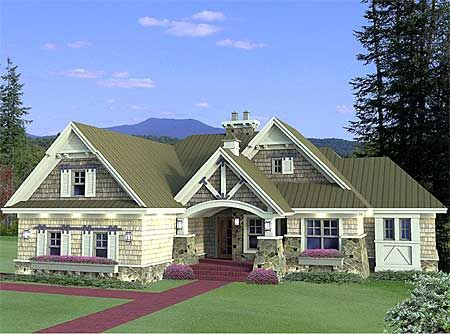 plan w14603rk: corner lot, shingle style, northwest, craftsman