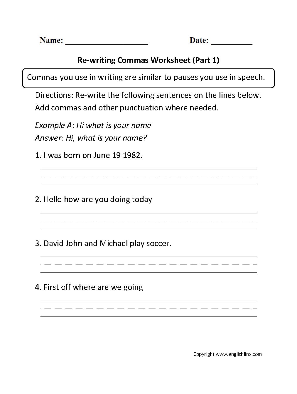 Commas with Complex Sentences   Comma Worksheets