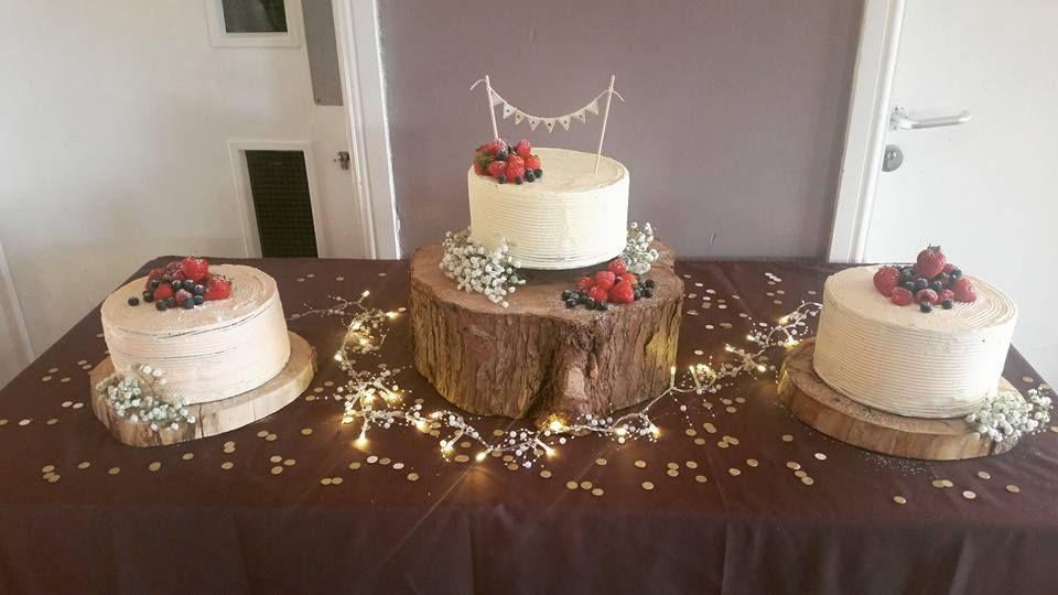 Trio of naked wedding cakes