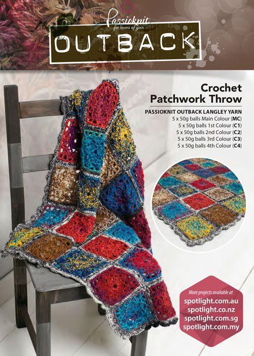 Crochet Patchwork Throw Crochet Patterns Free Pinterest