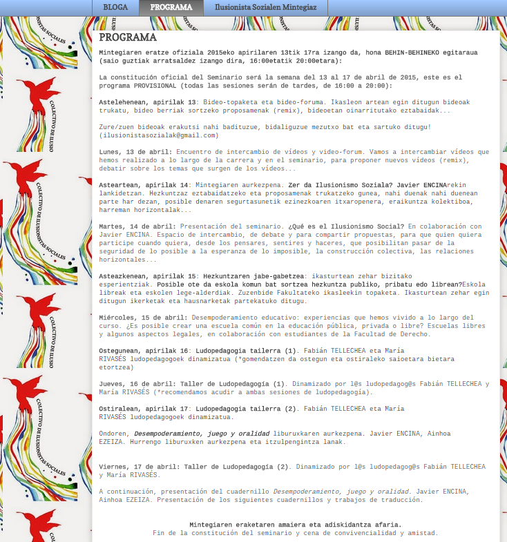 ilusionismo social: Preparando el Encuentro de Constitución del Semina...
