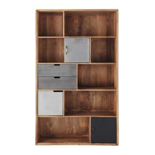 Maisons du Monde Solid mango wood industrial bookcase W 110cm