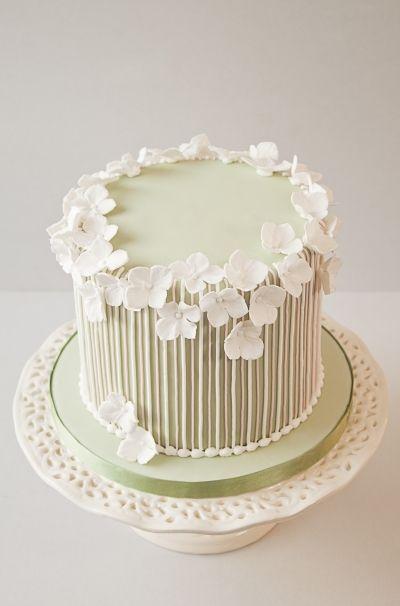 Striped vintage birthday cake By nanefy on CakeCentral