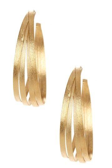 18K Gold Clad Bold Multi-Row Hoop Satin Earrings by Rivka Friedman