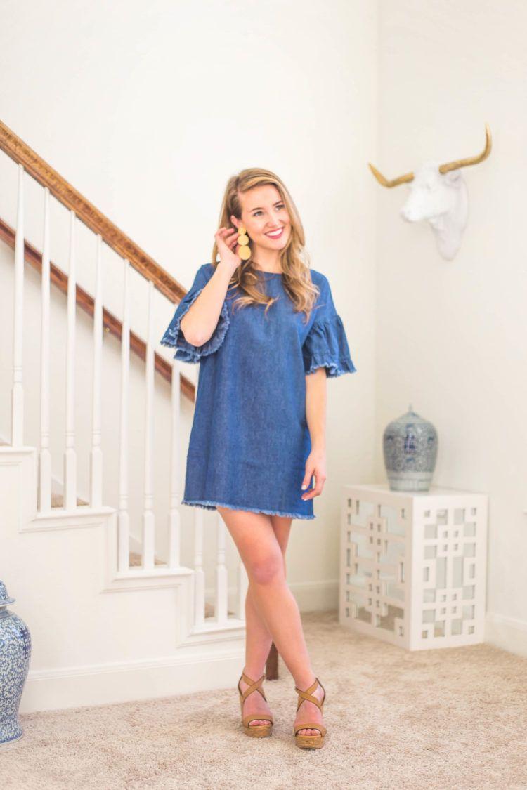 35 Denim Ruffle Sleeve Dress A Lonestar State Of Southern Dresses Denim Dress Outfit Affordable Denim [ 1125 x 750 Pixel ]