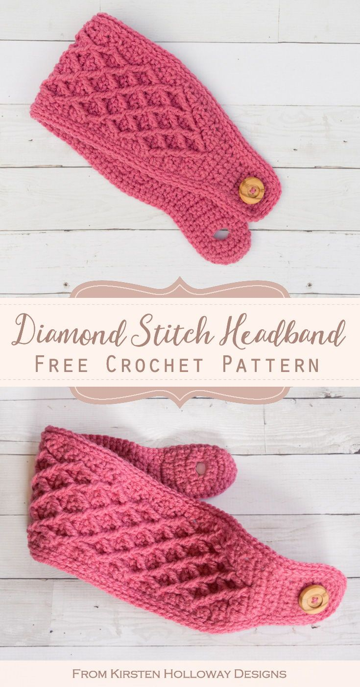 Diamond Stitch Free Crochet Headband Pattern
