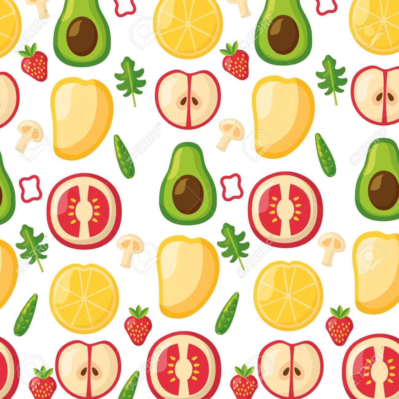 Healthy Food Background Fruits Vegetables Vector Illustration Illustration Aff Background Healthy Food Blogs Food Backgrounds Food Background Wallpapers