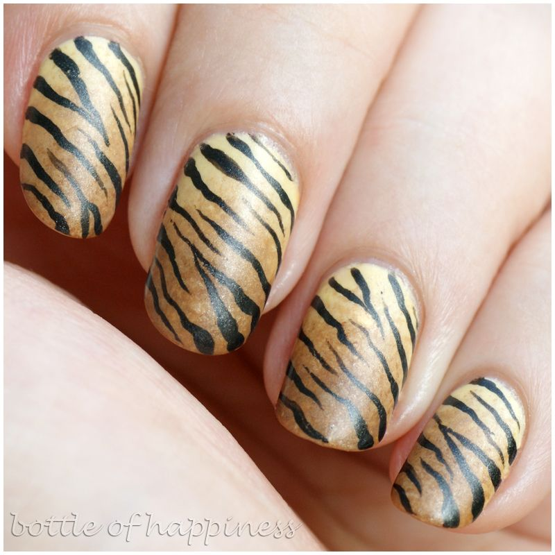 Bottle Of Happiness Brown And Tan Tiger Stripes Nail Art Nails