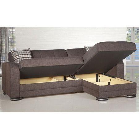 Kubo Storage Sectional Sofa In Brown Multitasking Sectional