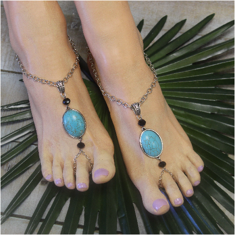 2044a17107393a CALIA turquoise barefoot sandals - silver ooak