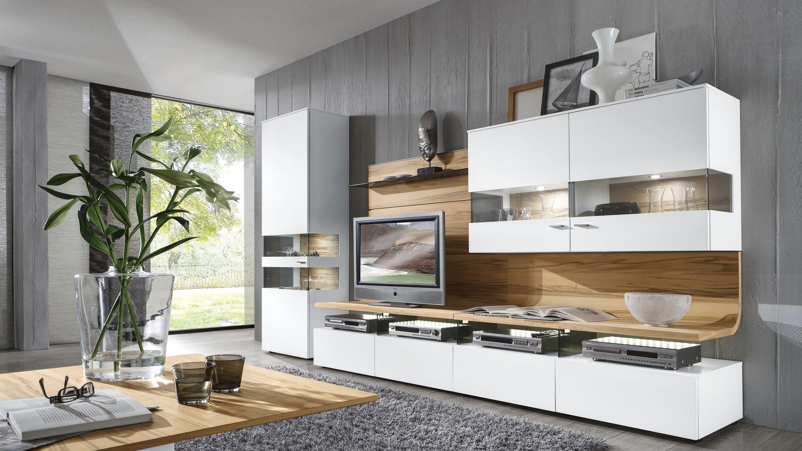 Schön wohnwand weiß holz -  Wohnzimmerschränke, Wohnzimmer modern