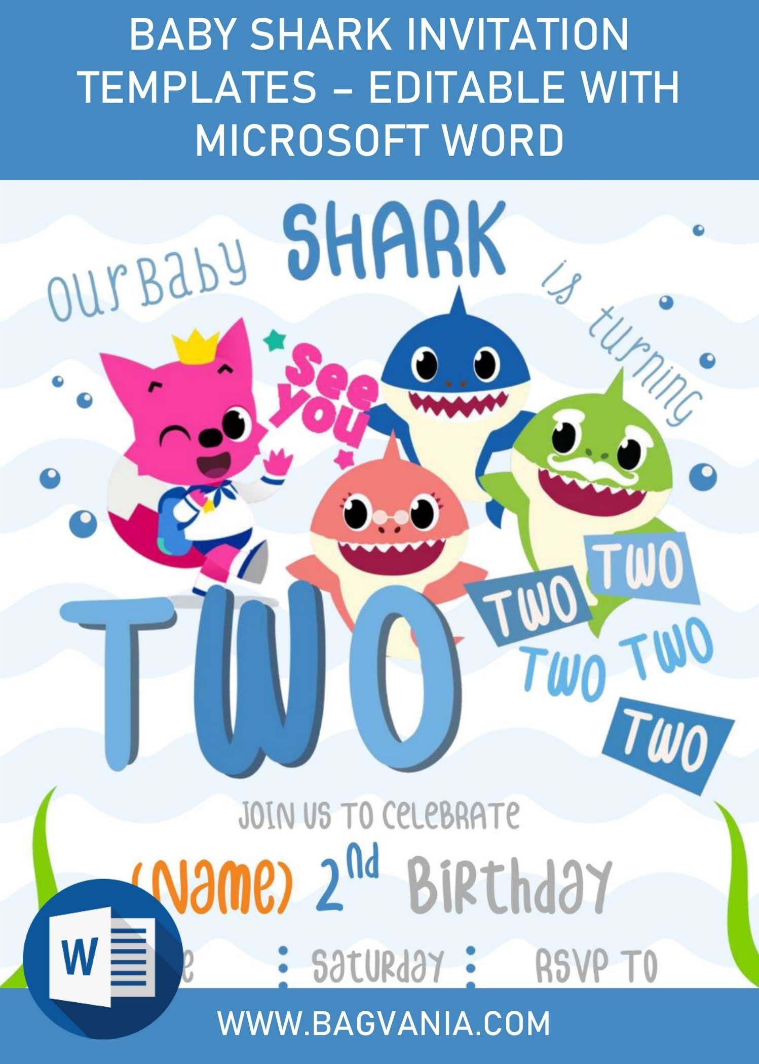 Baby Shark Birthday Invitation Templates Editable With Microsoft Word Shark Birthday Invitations Shark Birthday Party Invitation Shark Birthday Party