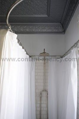 Silver Crown Mold White Subway Tile Curved Curtain Rod Yep I