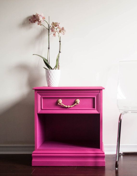Items Similar To Pink And Gold Nightstand Side Table, Painted Furniture,  Nursery Accent Table, Modern Glam Nightstand   SOLD On Etsy