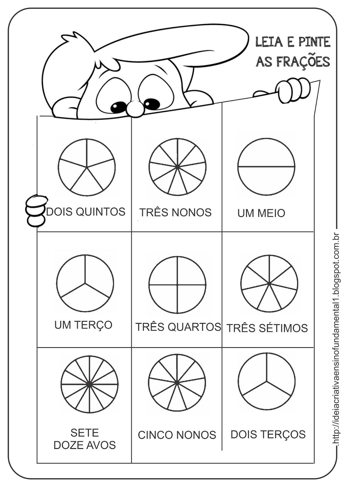 Extremamente Atividade Pinta Frações Fundamental I 4°Ano | Escola da Mamãe  CC75