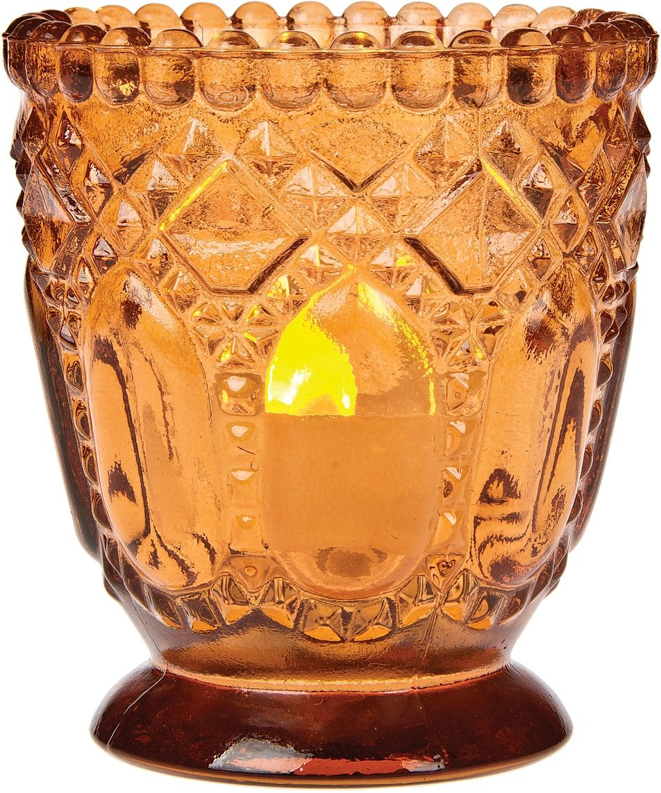 Our mango orange mango orange julia faceted glass candle holder will