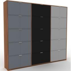 Photo of Wohnwand Nussbaum – Individuelle Designer-Regalwand: Türen in Anthrazit – Hochwertige Materialien –