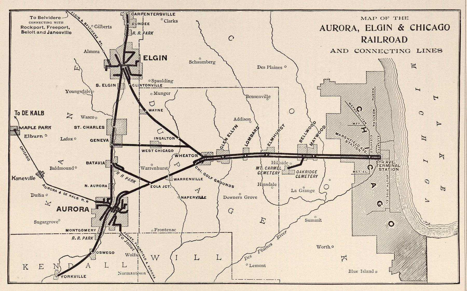 CAE System Map Chicago Aurora Elgin Railroad Pinterest