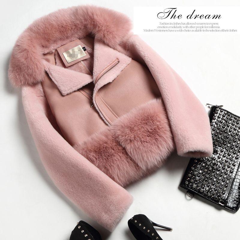 Настоящее пальто с мехом женские зимние толстые теплые меховые One Piece  кожаная куртка розовое пальто из натуральной овчины кожаная куртка женская  0714L ... abf3eec65a5