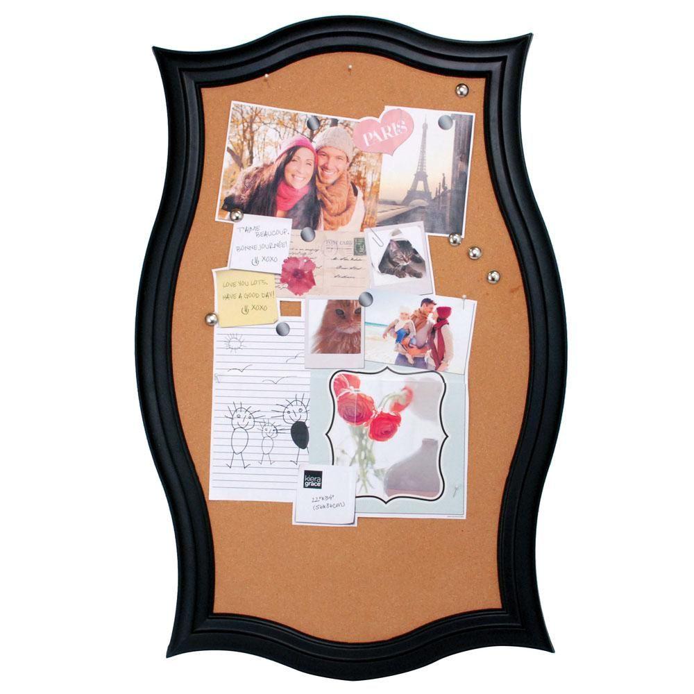 Script Black Framed Cork Board 22 in. x 34.5 in. | Cork boards, Cork ...